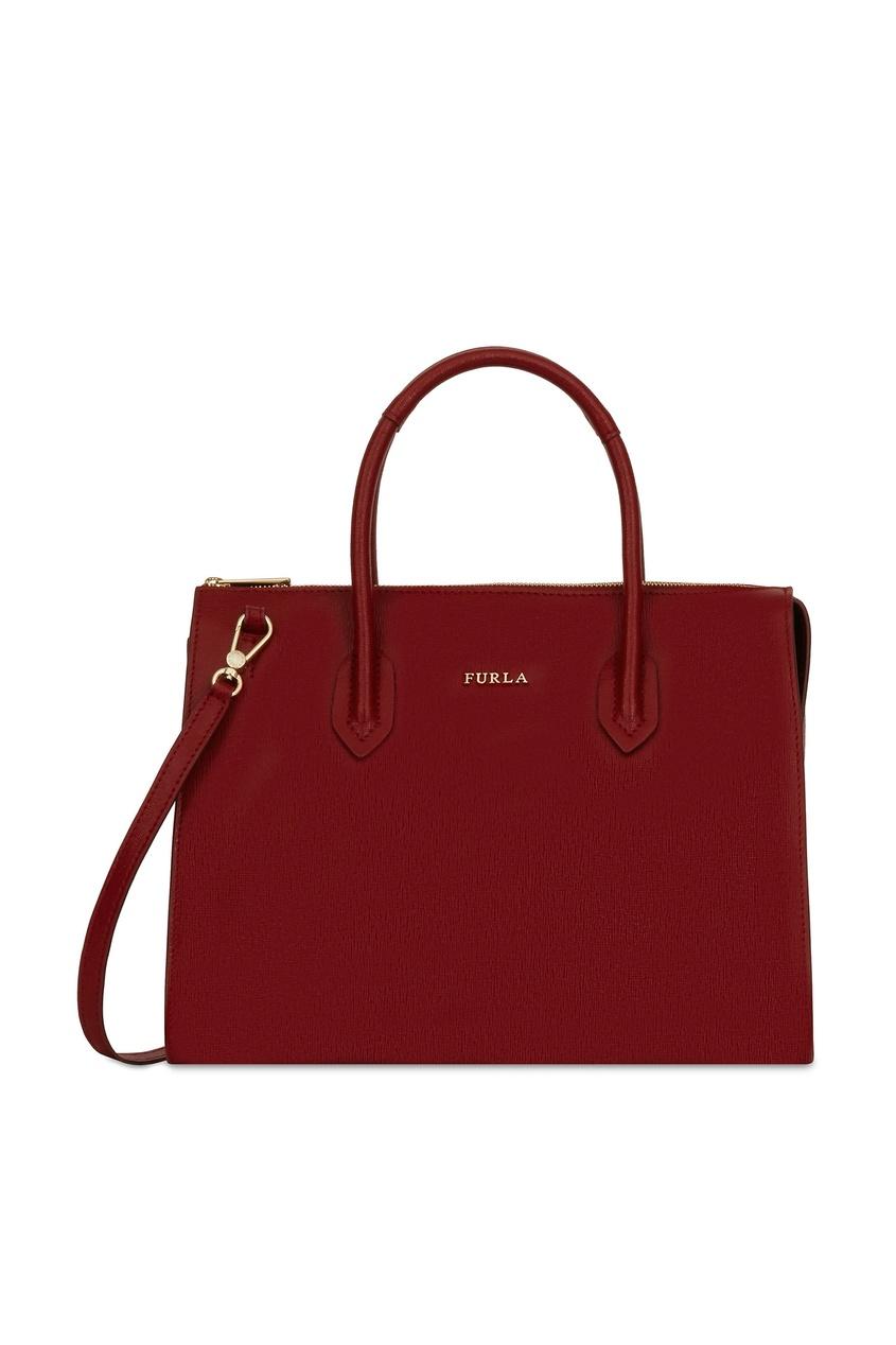 Фото - Бордовая кожаная сумка Pin бордового цвета