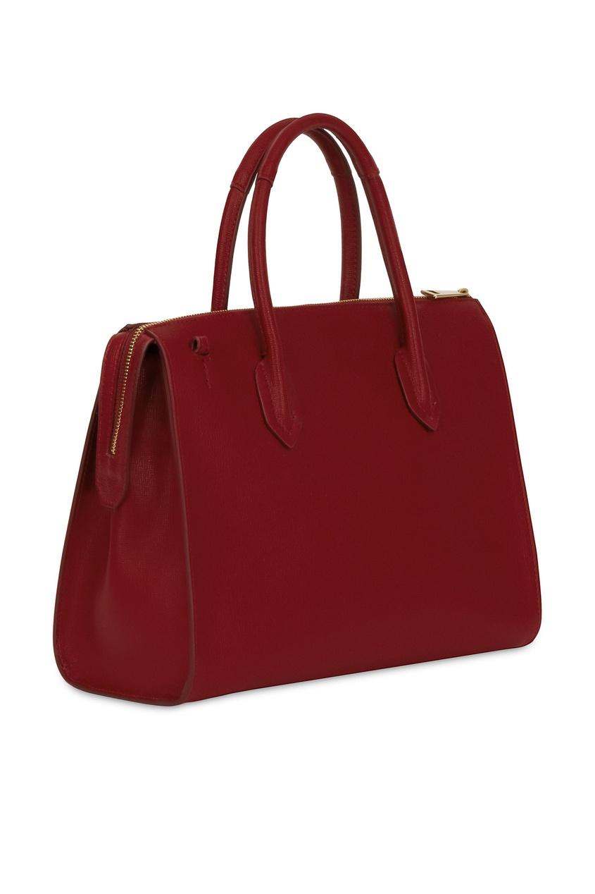 Фото 2 - Бордовая кожаная сумка Pin бордового цвета