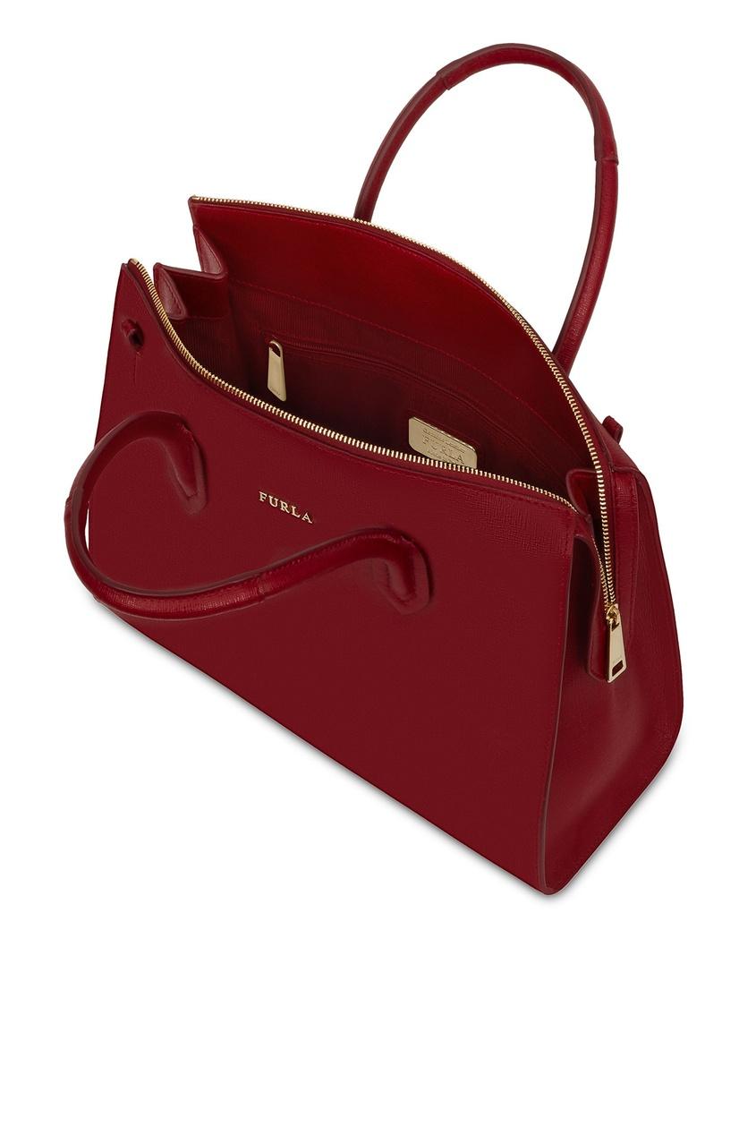Фото 3 - Бордовая кожаная сумка Pin бордового цвета