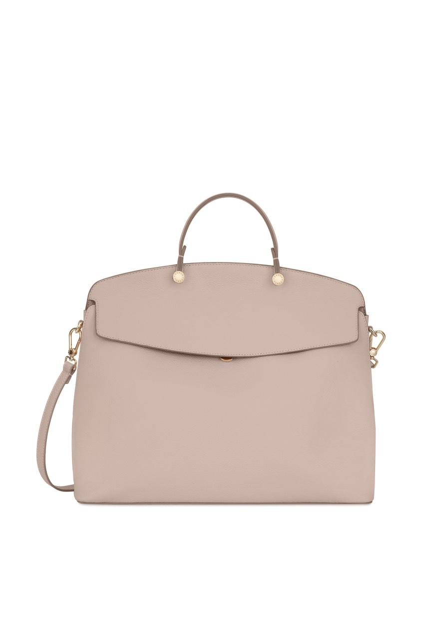 Купить Розовая сумка My Piper из кожи бежевого цвета