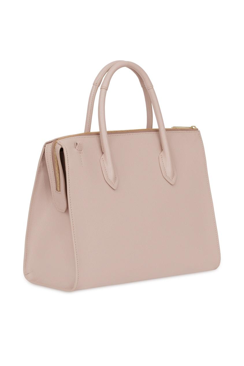 Фото 2 - Пудровая сумка Pin бежевого цвета