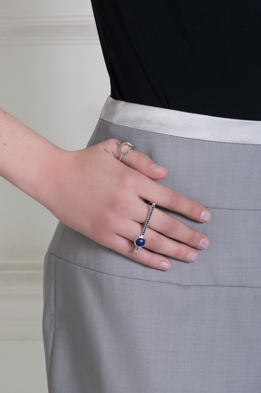 Pamela Love Серебряное кольцо с сапфирами