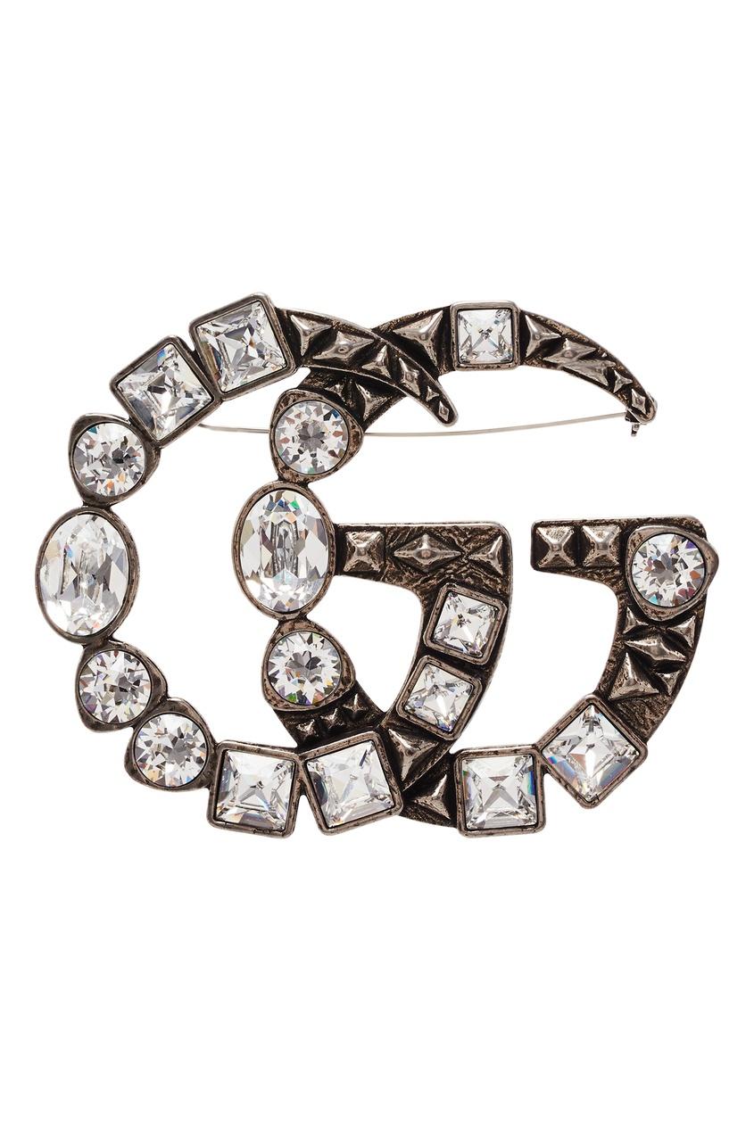 Купить Брошь GG с кристаллами от Gucci серебрянного цвета