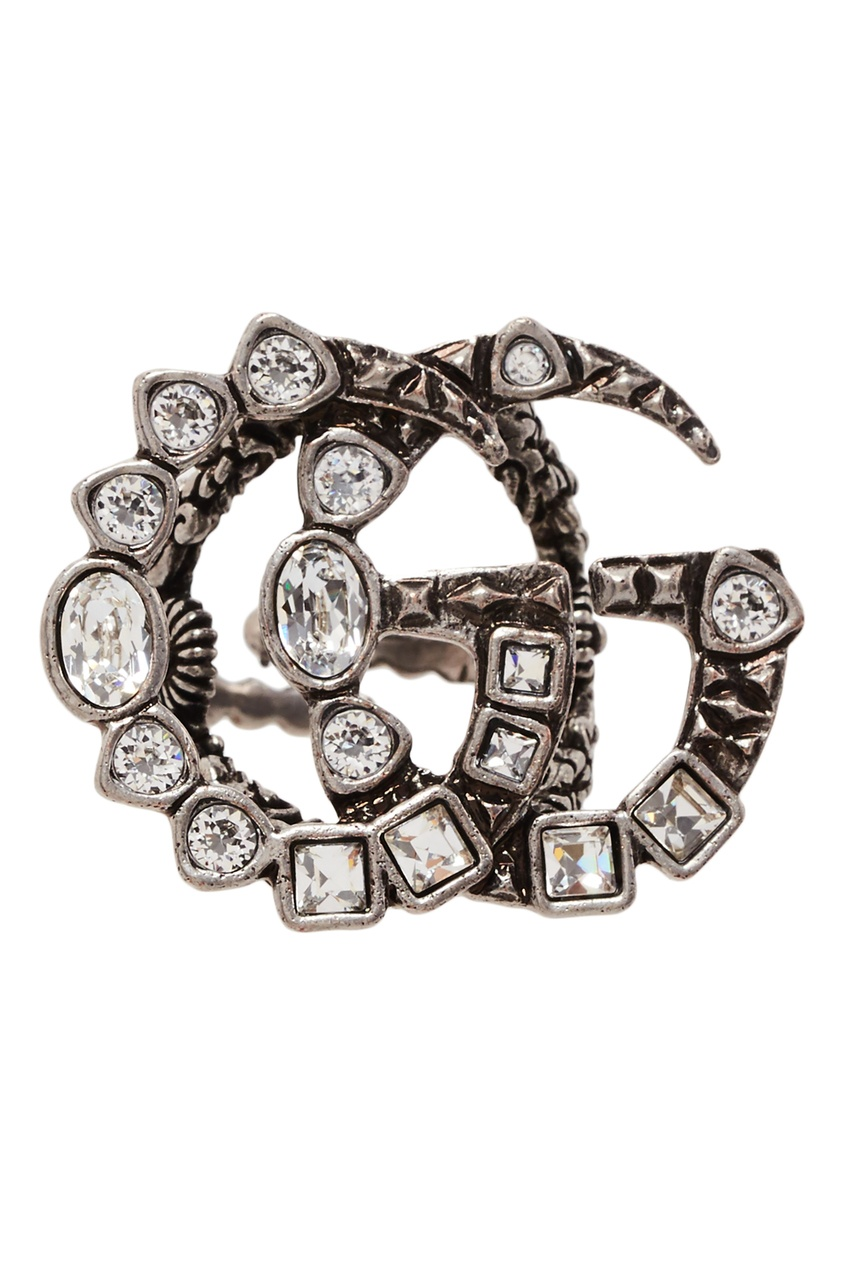 Купить Кольцо с логотипом GG и кристаллами от Gucci серебрянного цвета