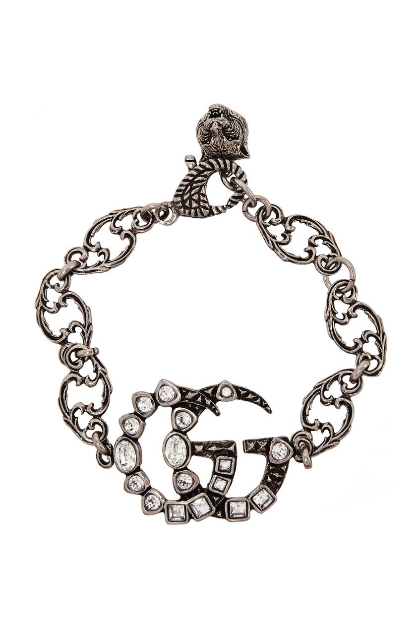 Браслет с логотипом GG и кристаллами