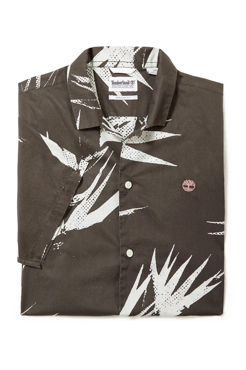 Купить Черная рубашка с принтом от Timberland серого цвета