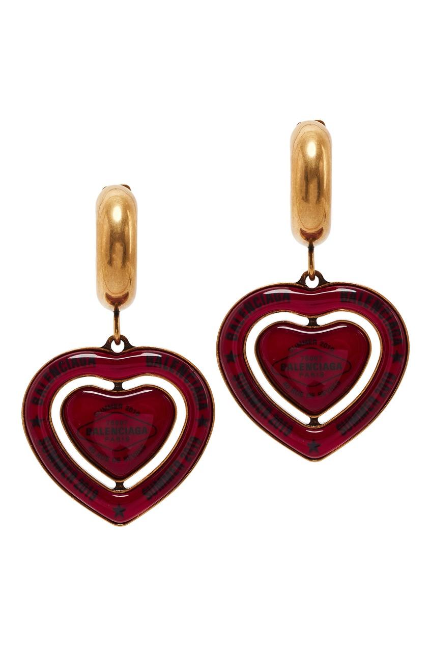 Серьги в форме сердец