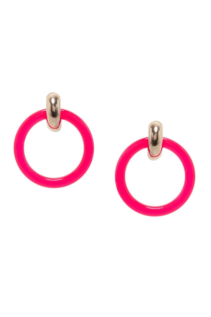 Розовые пластмассовые серьги-кольца от Balenciaga