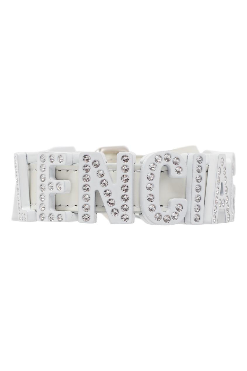 Купить Белый кожаный браслет со стразами от Balenciaga цвет multicolor