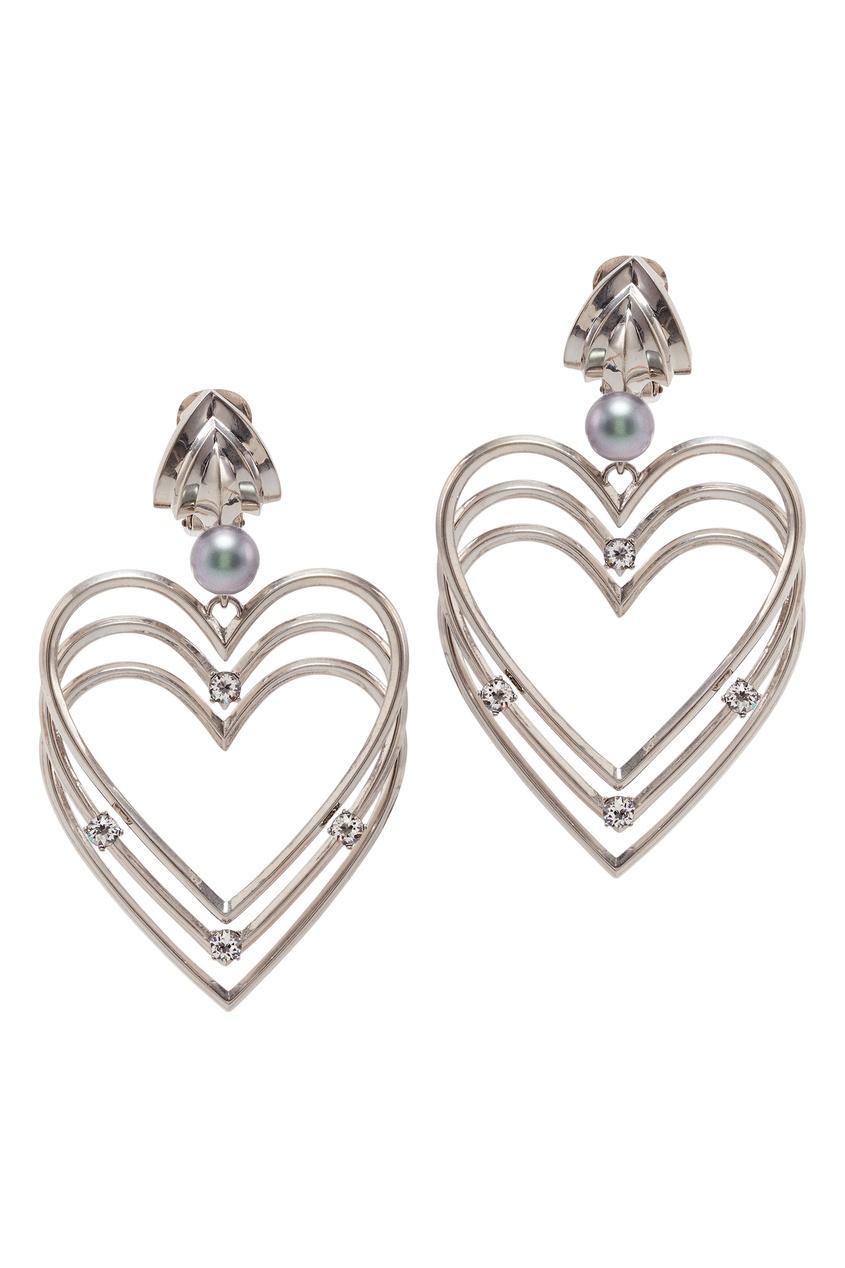 Купить Серьги в форме тройных сердец от Balenciaga серебрянного цвета
