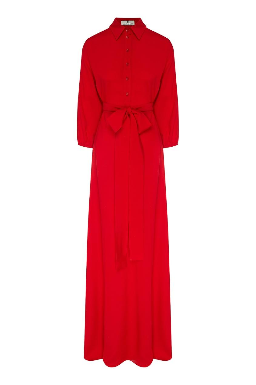 Купить Красное платье-рубашка с поясом красного цвета