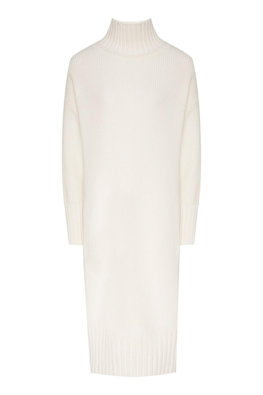Купить Вязаное платье с высоким воротником белого цвета
