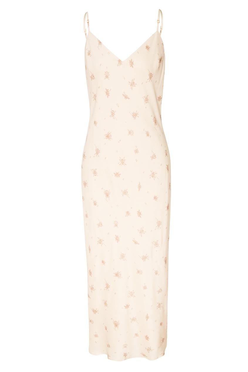 Купить Платье с принтом бежевого цвета