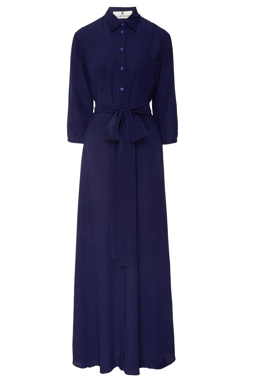 Купить Платье-рубашка с поясом синего цвета