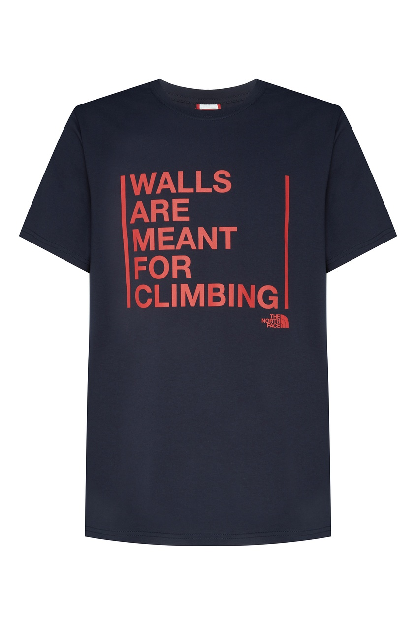 Купить Темно-синяя футболка с красной надписью синего цвета