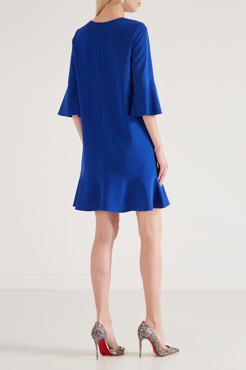Фото 3 - Синее платье мини с оборкой от Chapurin синего цвета