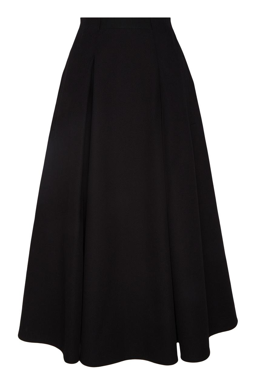 Купить Черная юбка миди со складками от Chapurin черного цвета