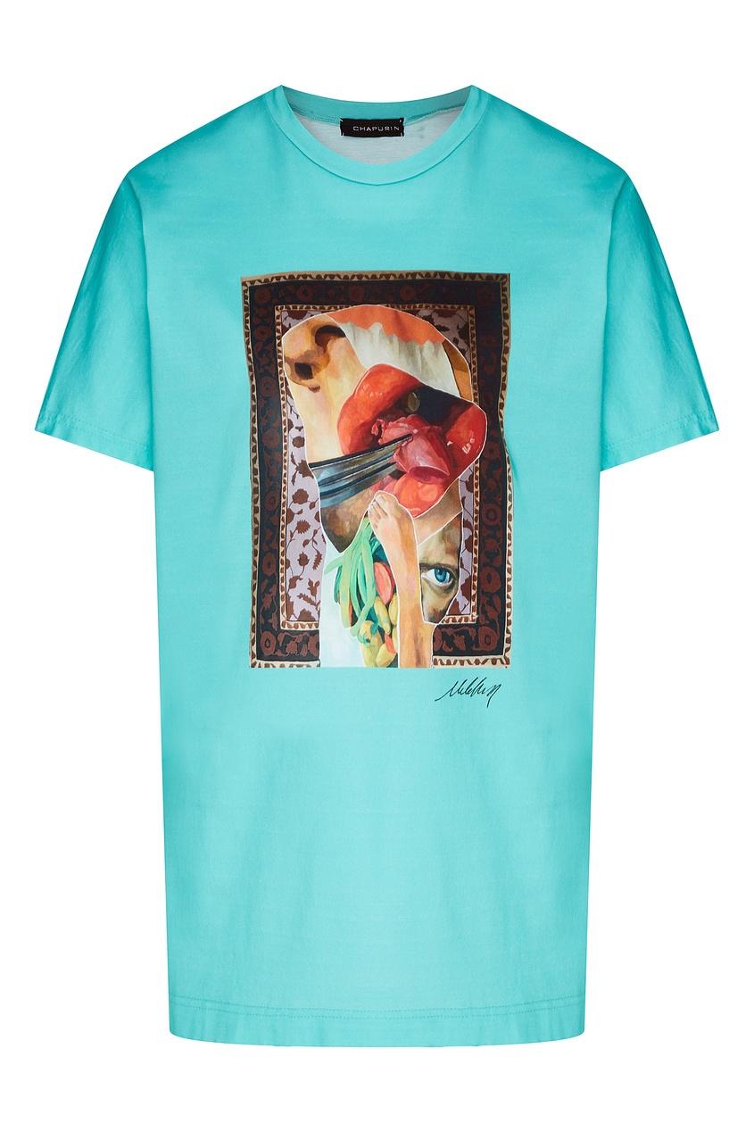 Фото - Бирюзовая футболка с коллажным принтом от Chapurin бирюзового цвета