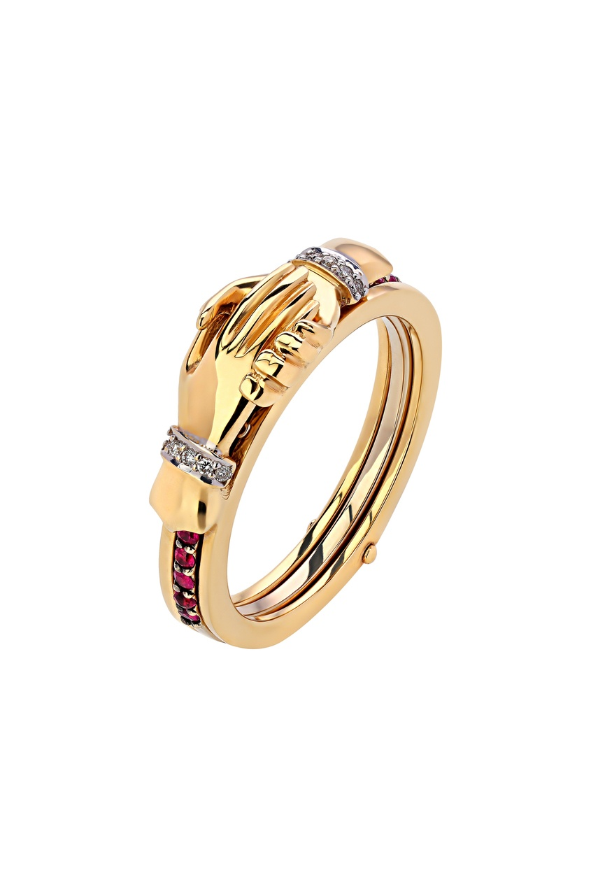 Купить Золотое кольцо с бриллиантами и рубинами от Кремлевские Мастера золотого цвета