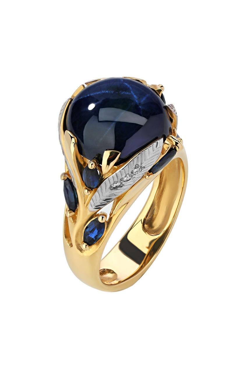 Купить Золотое кольцо с бриллиантами и сапфирами от Кремлевские Мастера золотого цвета