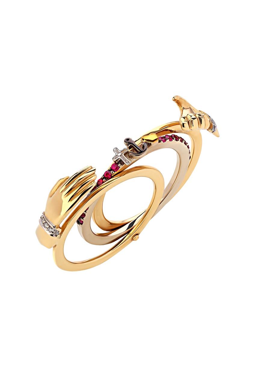 Фото 2 - Золотое кольцо с бриллиантами и рубинами от Кремлевские Мастера золотого цвета