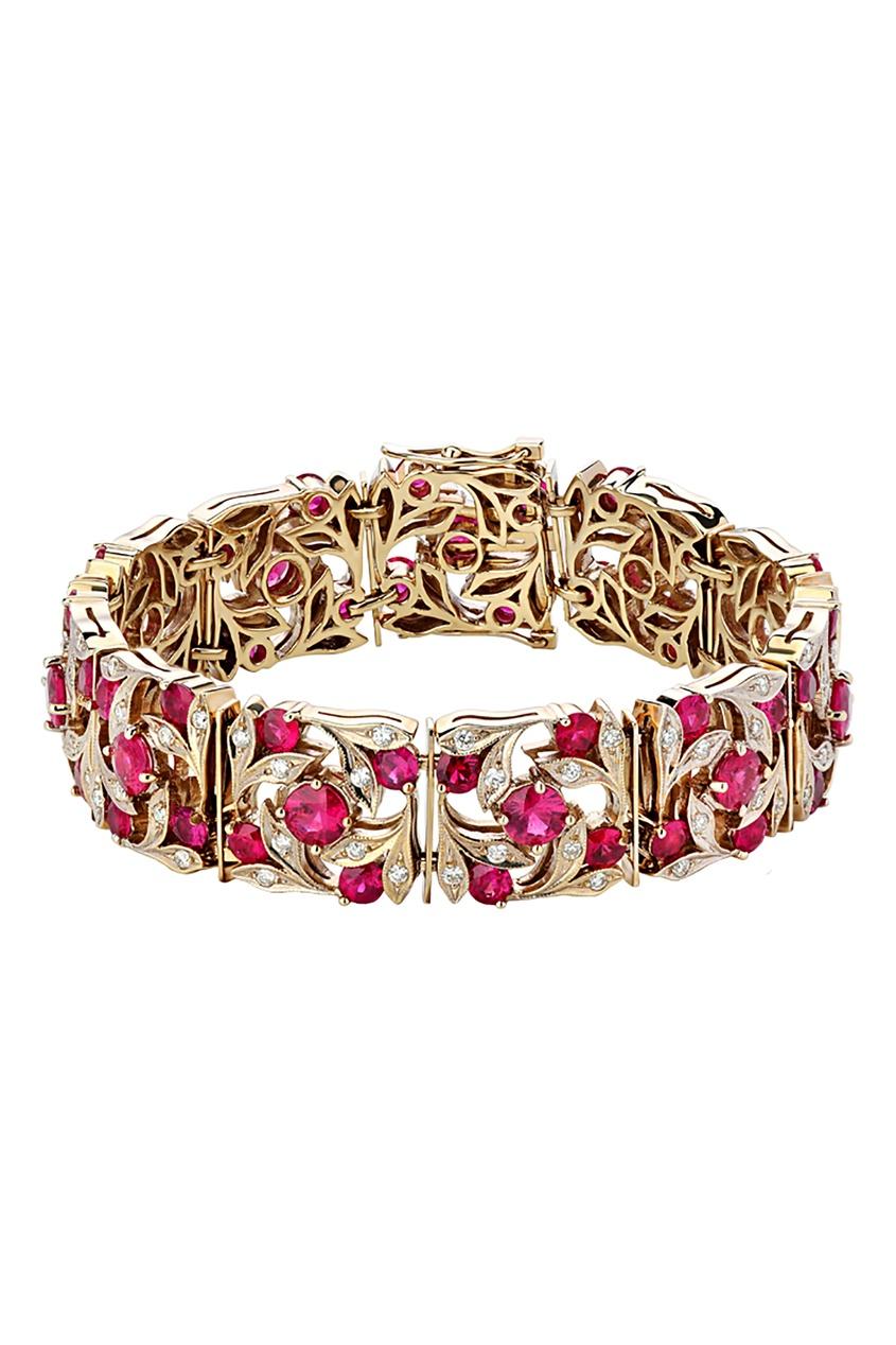 Купить Золотой браслет с рубинами и бриллиантами от Кремлевские Мастера цвет miltocolor