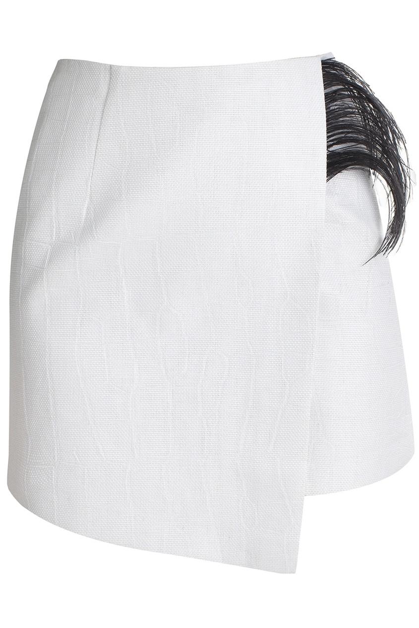 Хлопковая юбка с перьями Alexandr Rogov 2344346 белый фото