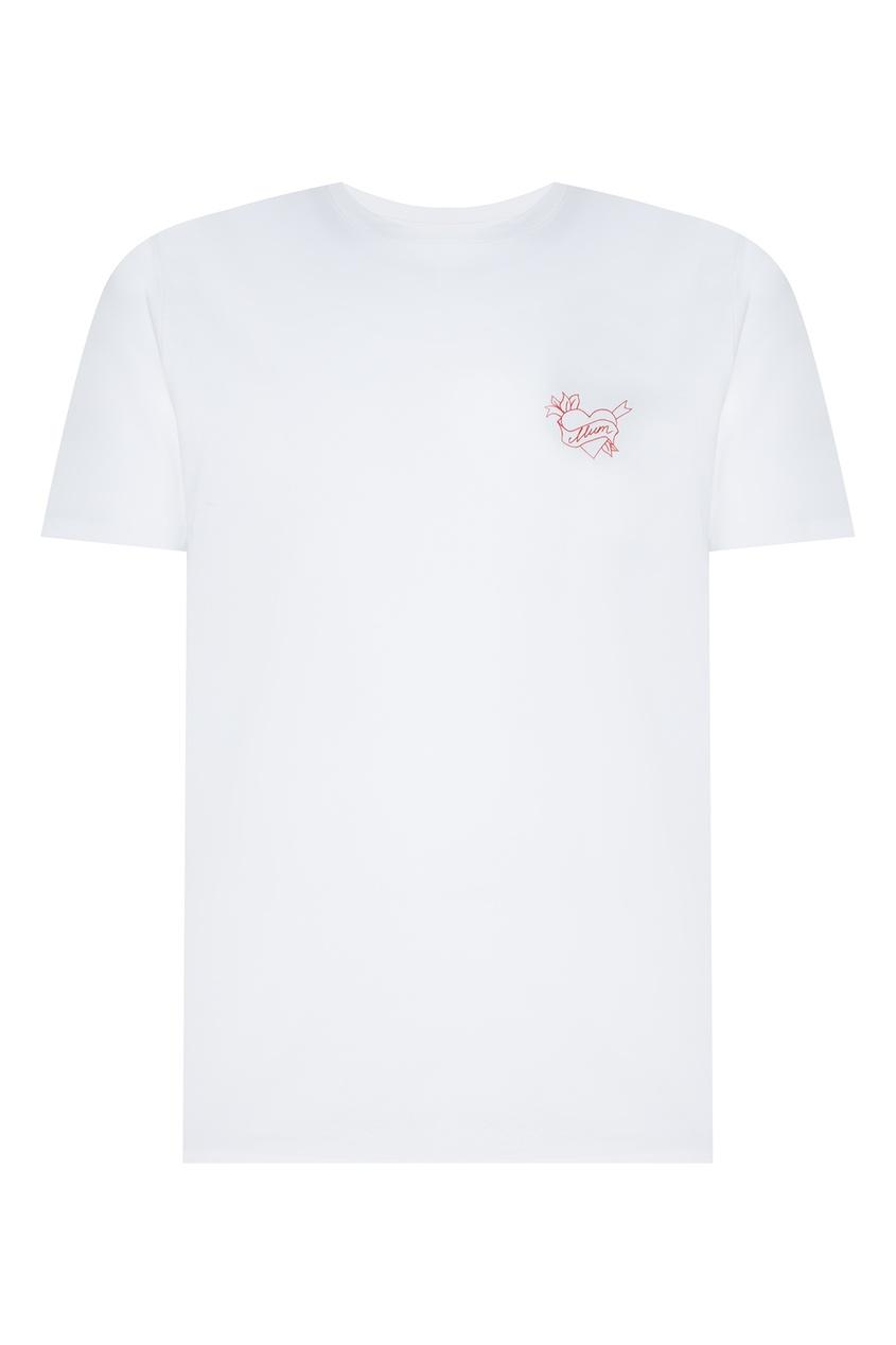 Купить Белая футболка с принтом от Hugo Boss белого цвета
