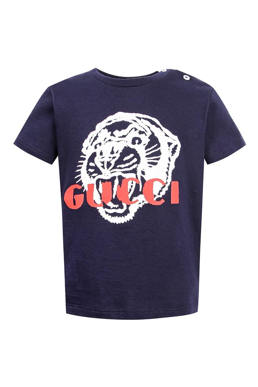 Купить Синяя футболка с рисунком от Gucci Kids синего цвета