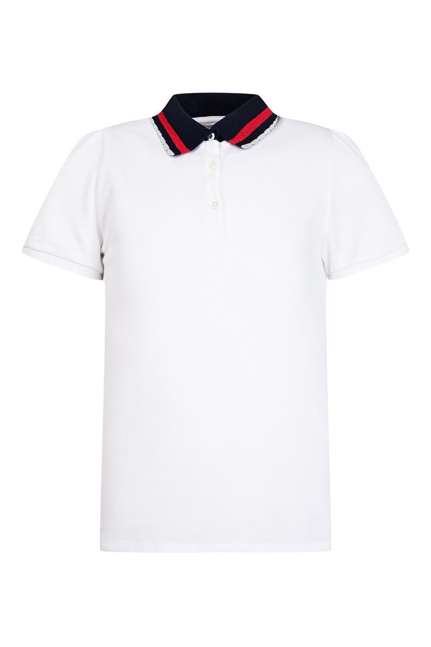 Купить Белое поло с логотипом от Gucci Kids белого цвета
