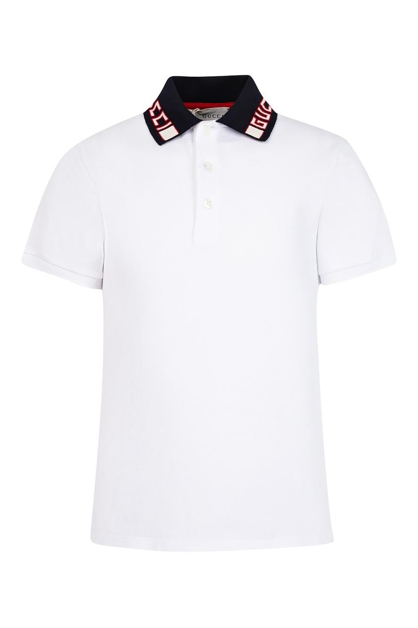 Купить Белое поло с контрастным воротником от Gucci Kids белого цвета