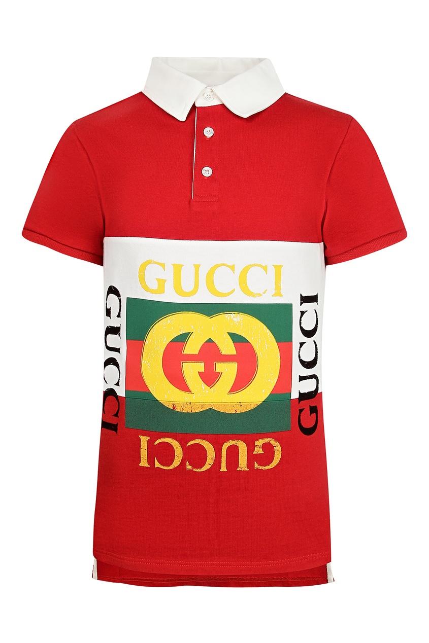 Купить Красное поло с логотипом от Gucci Kids красного цвета