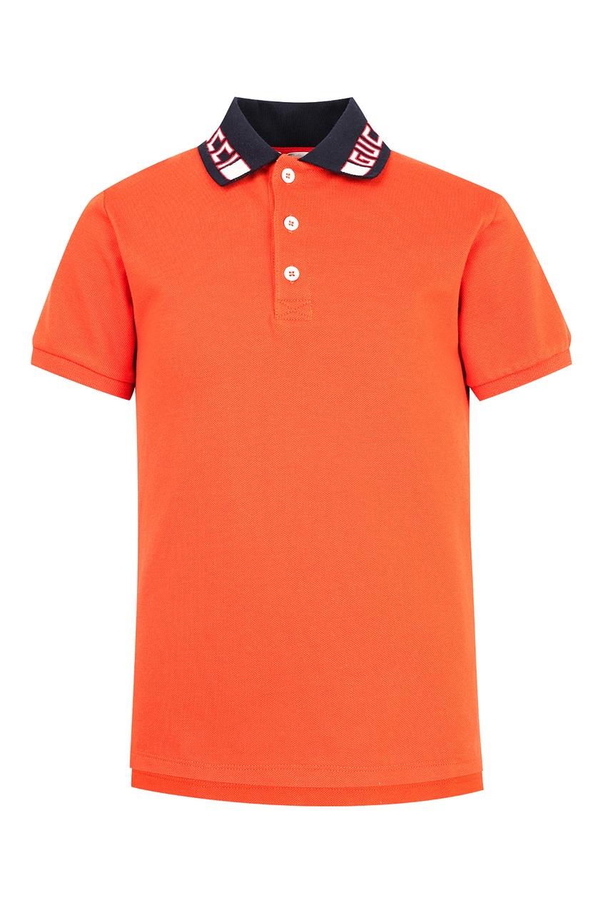 Купить Оранжевое поло с контрастным воротником от Gucci Kids оранжевого цвета