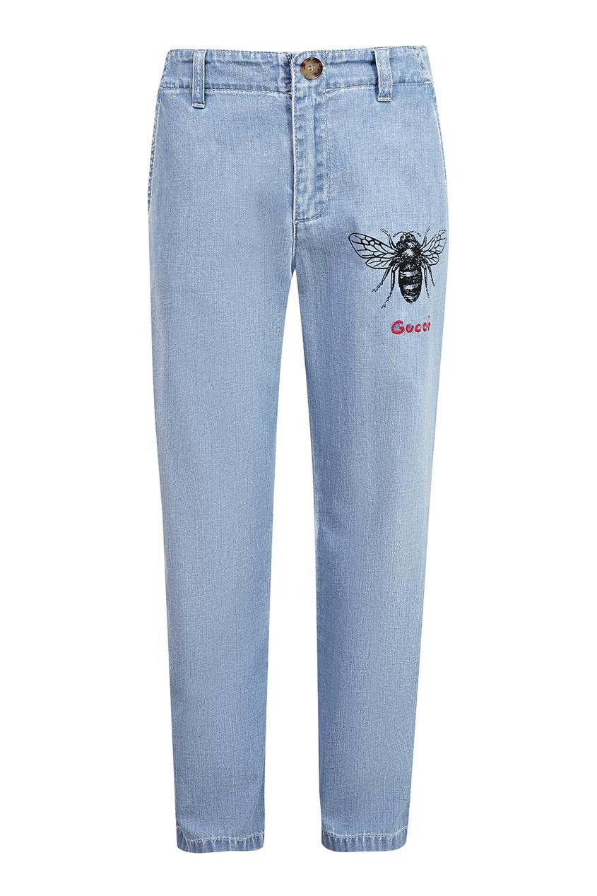 Джинсовые брюки с вышивкой Gucci Kids
