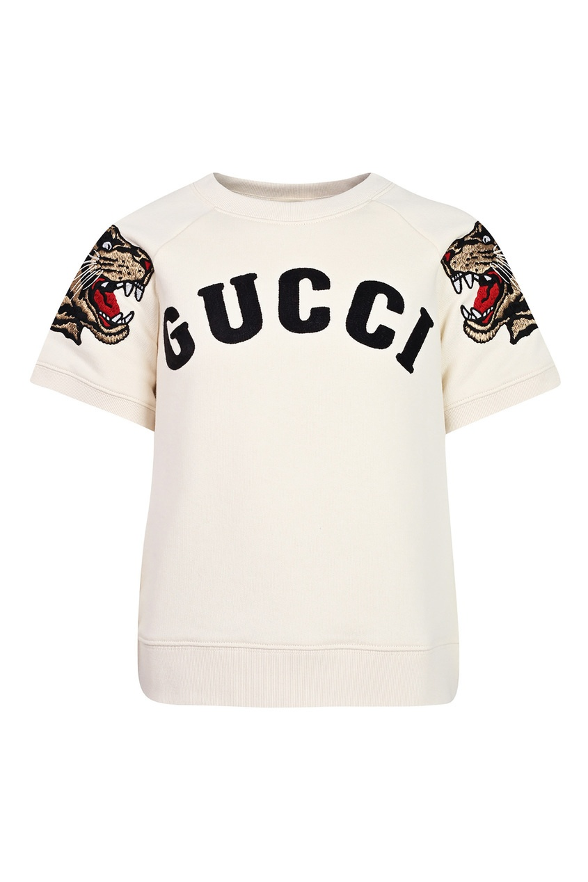 Купить Белый свитшот с короткими рукавами от Gucci Kids бежевого цвета