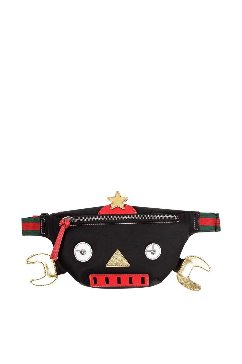 Черная сумка на пояс с отделкой Gucci Kids