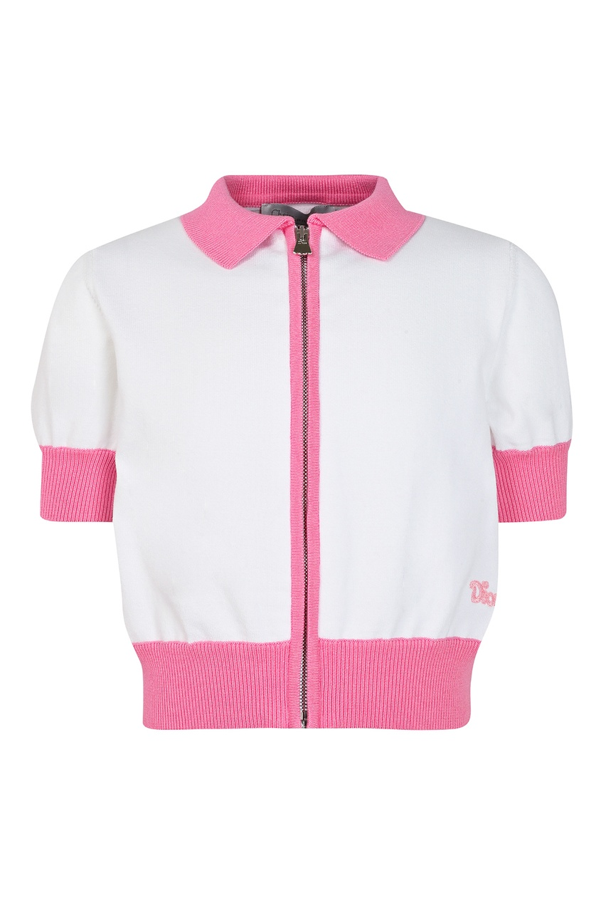 Бело-розовый кардиган на молнии от Dior Kids
