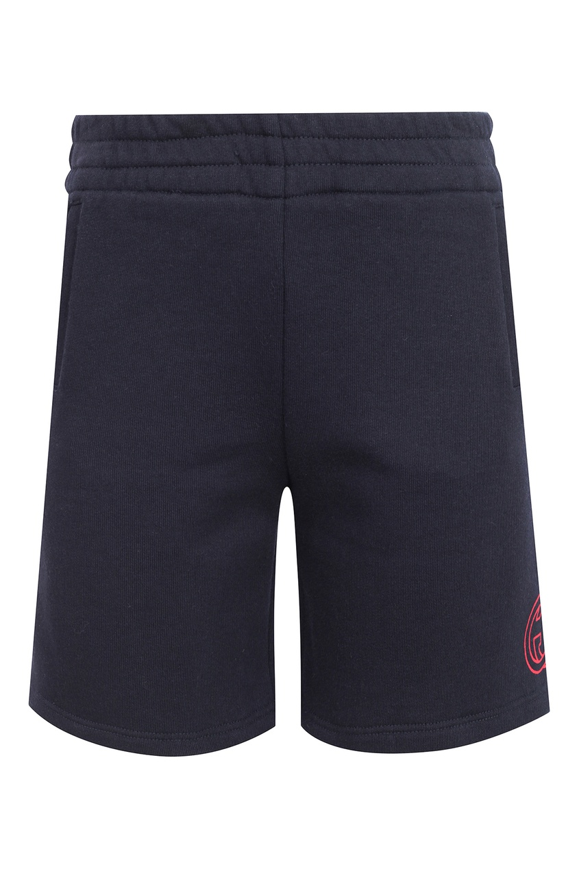 Купить Синие шорты с логотипом от Gucci Kids черного цвета