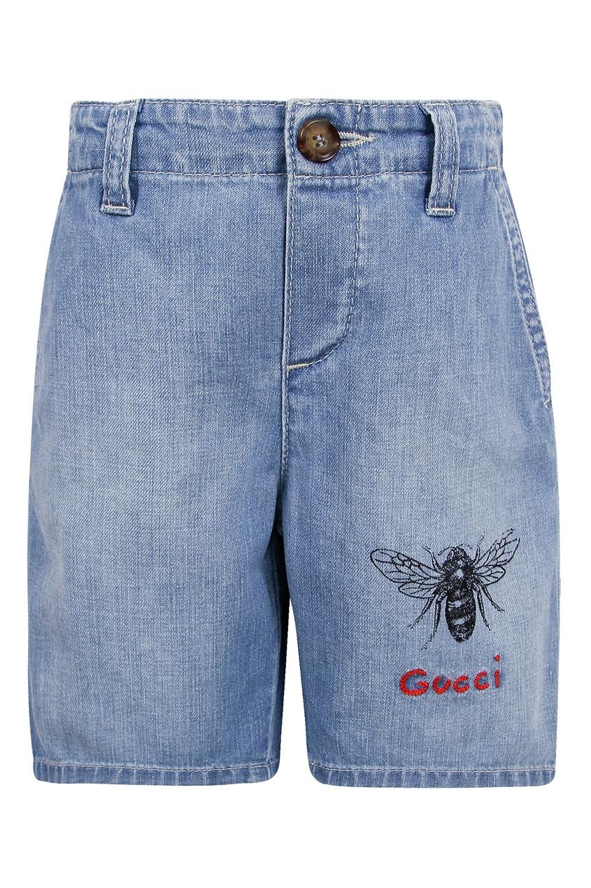 Купить Джинсовые шорты с вышивкой от Gucci Kids голубого цвета