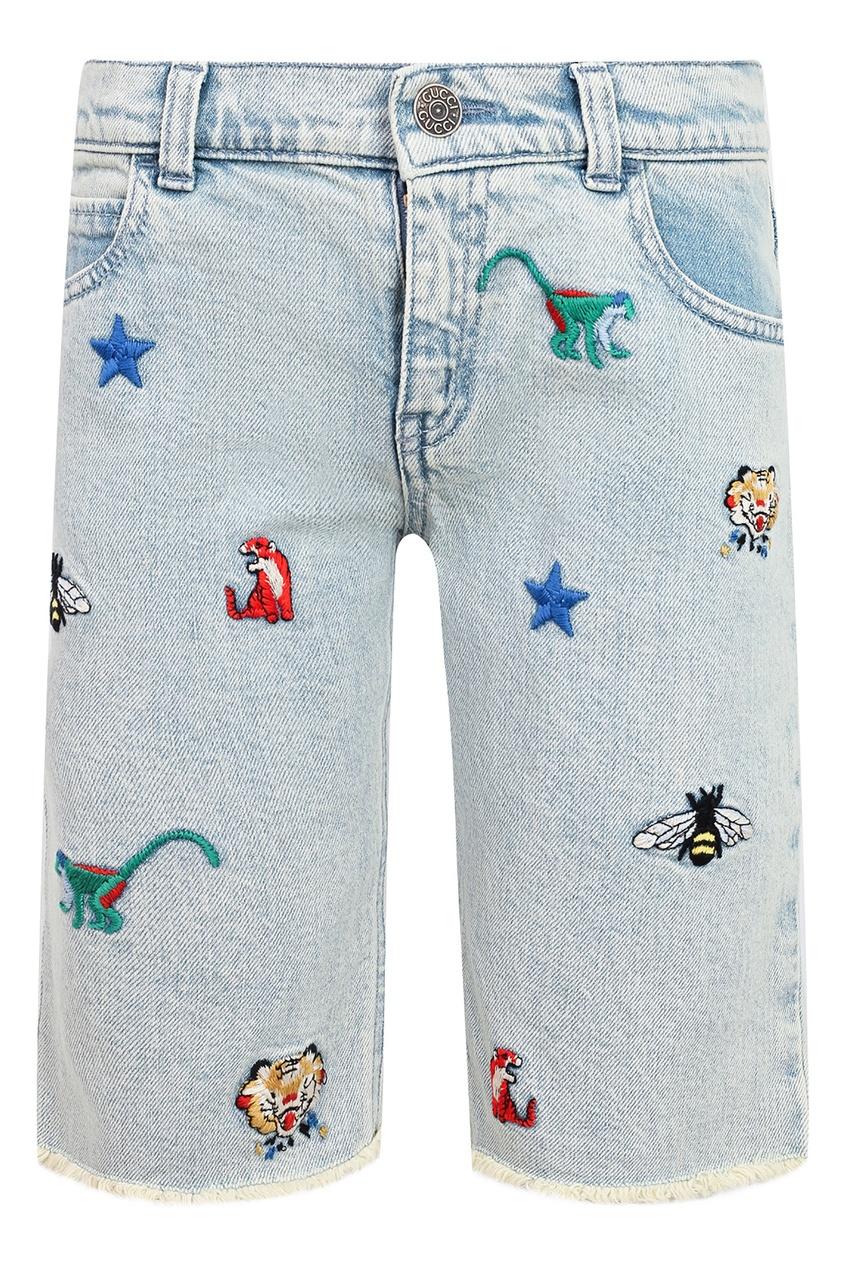 Голубые шорты с вышивкой Gucci Kids