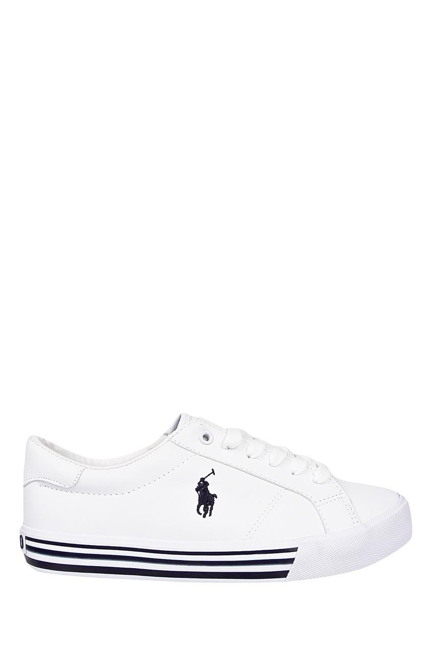 Купить Белые кеды с черным логотипом от Ralph Lauren Kids белого цвета