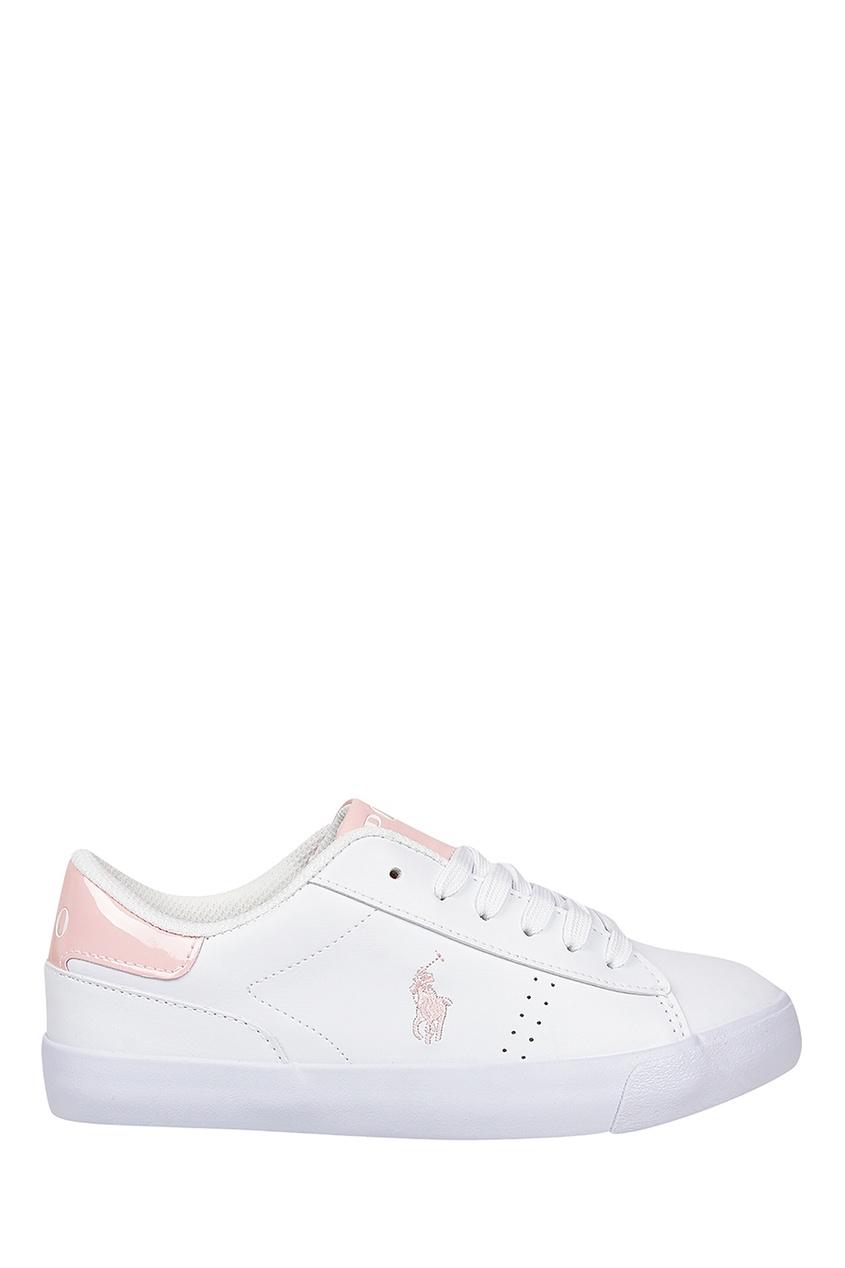 Белые кеды с розовыми вставками от Ralph Lauren Kids