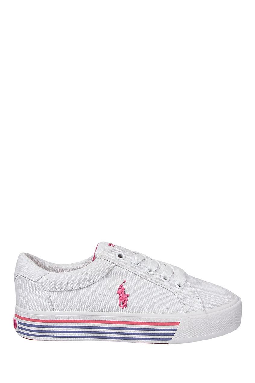 Купить Белые кеды с контрастной отделкой от Ralph Lauren Kids белого цвета