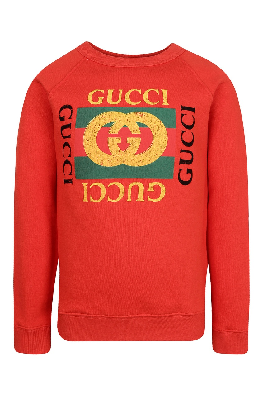 Купить Красный свитшот с логотипом от Gucci Kids оранжевого цвета