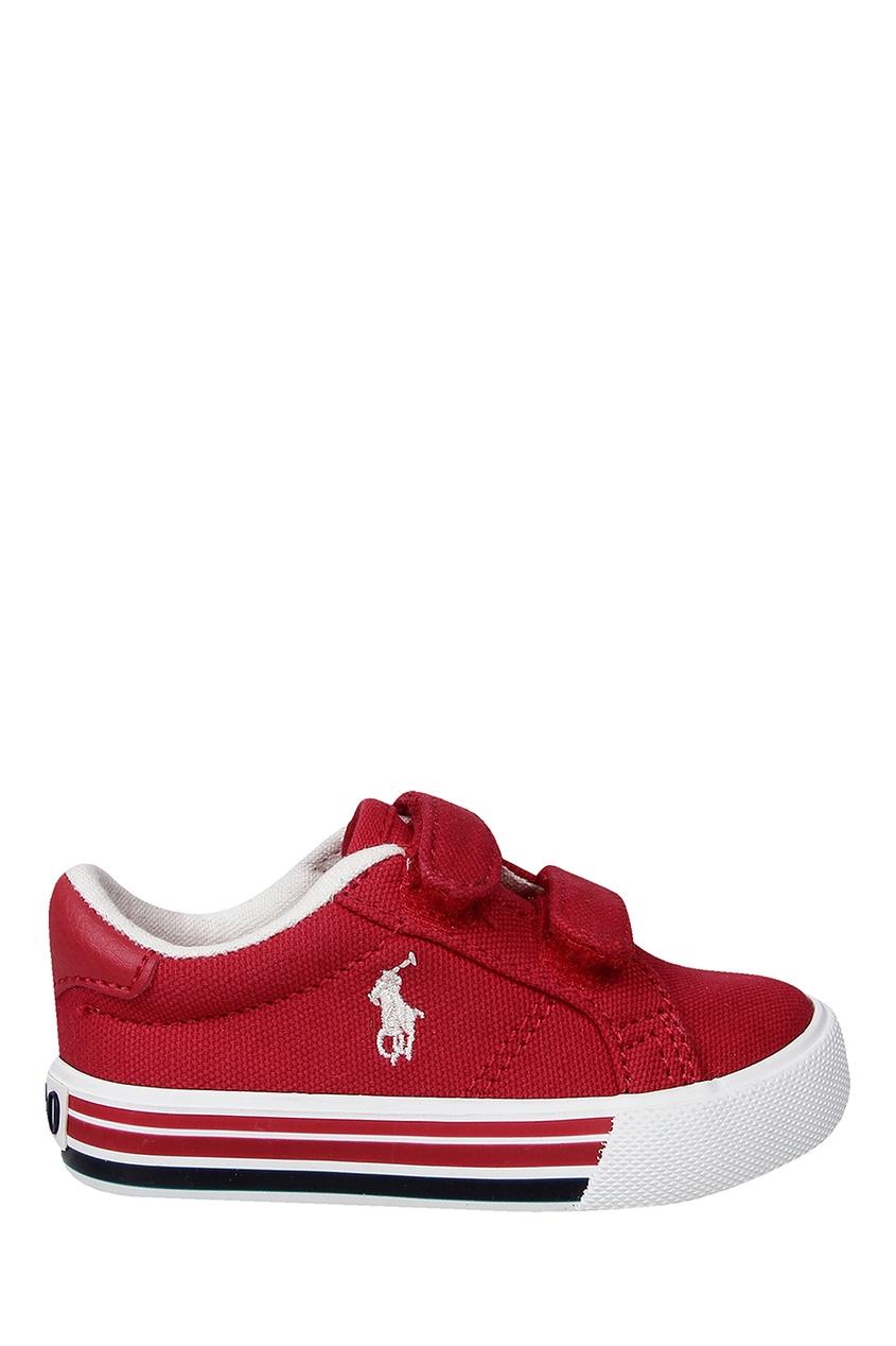 Купить Бордовые кеды на липучке от Ralph Lauren Kids красного цвета