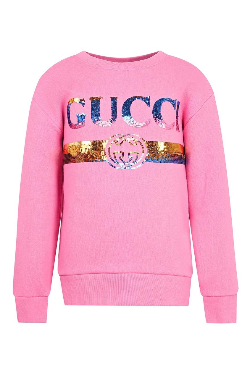 Купить Розовый свитшот с пайетками от Gucci Kids розового цвета