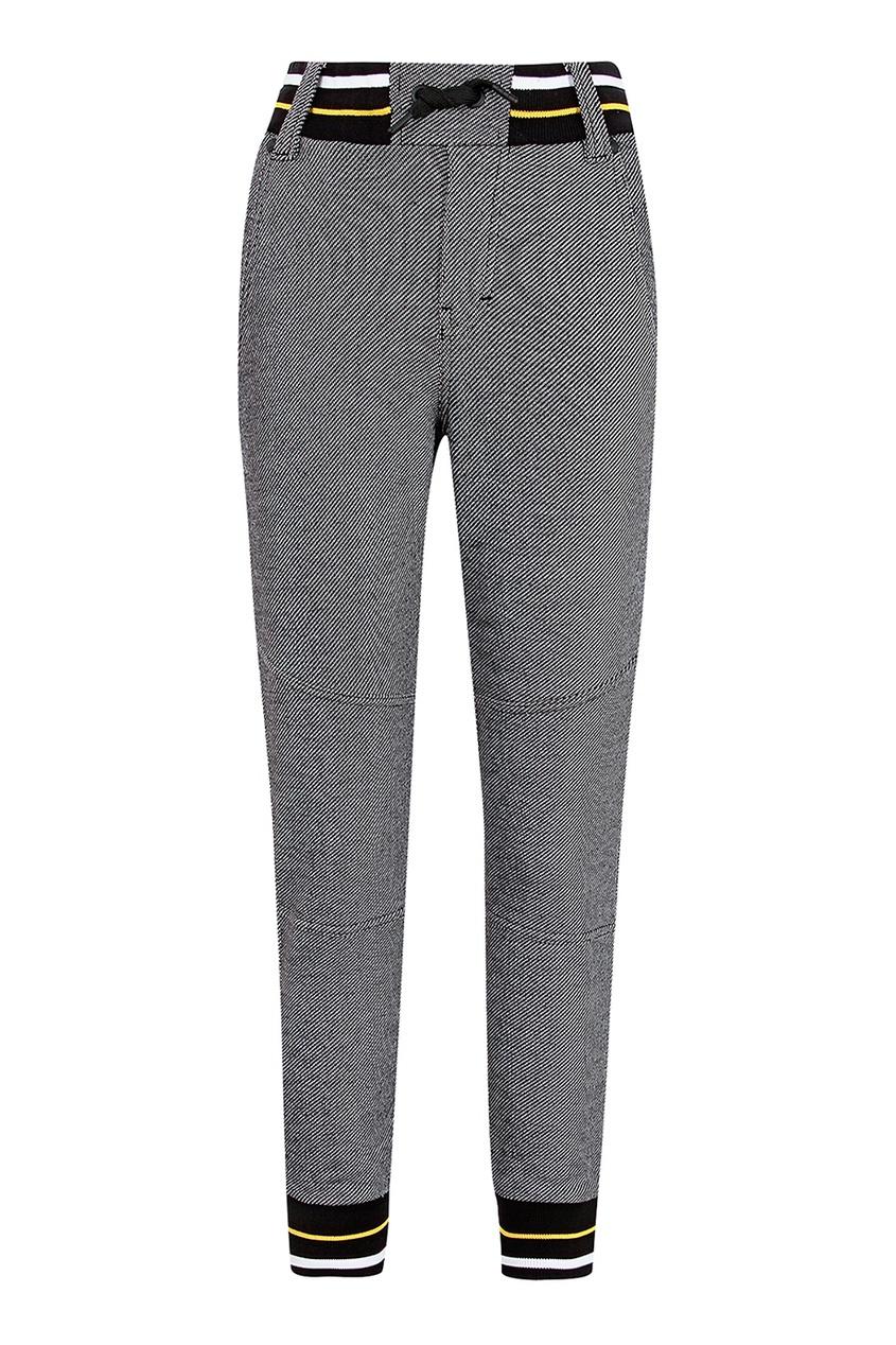 Купить Серые брюки с контрастной отделкой черного цвета
