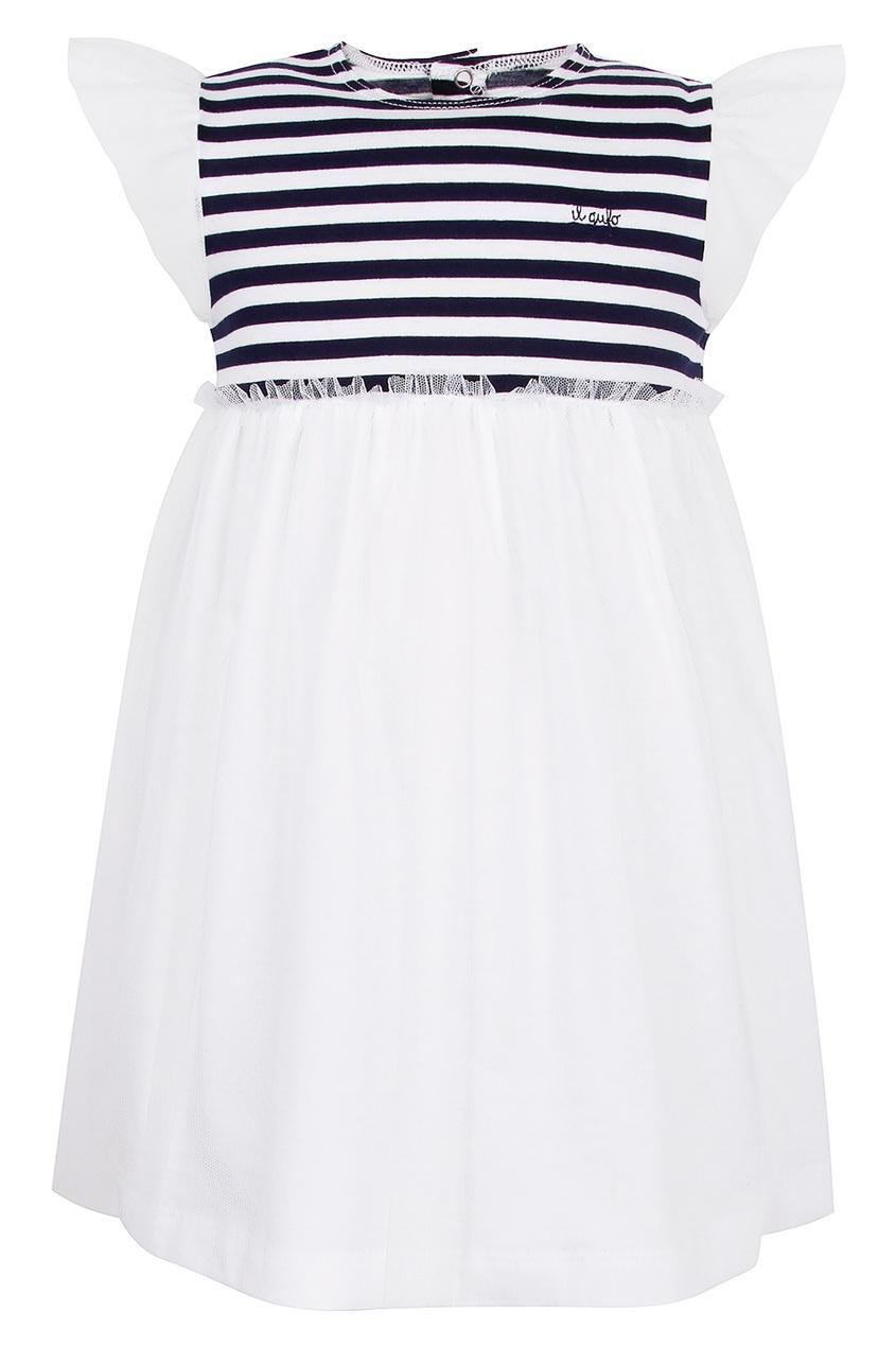Купить Платье с контрастной полоской белого цвета