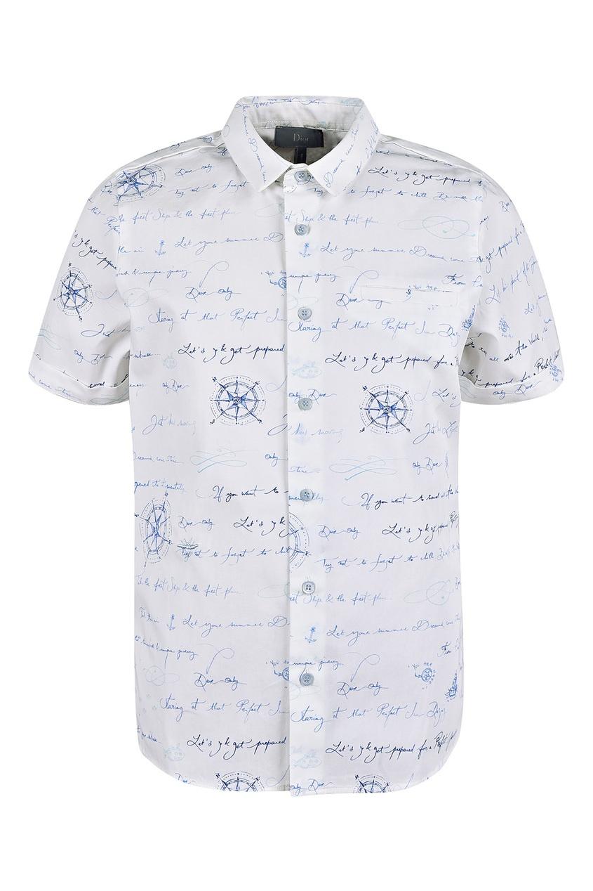 Купить Белая рубашка с принтом от Dior Kids белого цвета