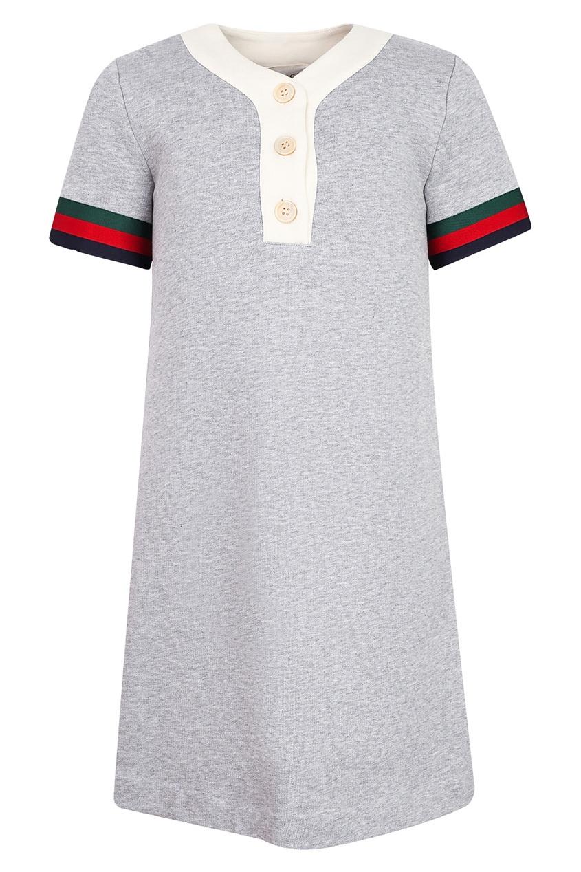 Купить Серое платье с контрастной отделкой от Gucci Kids серого цвета